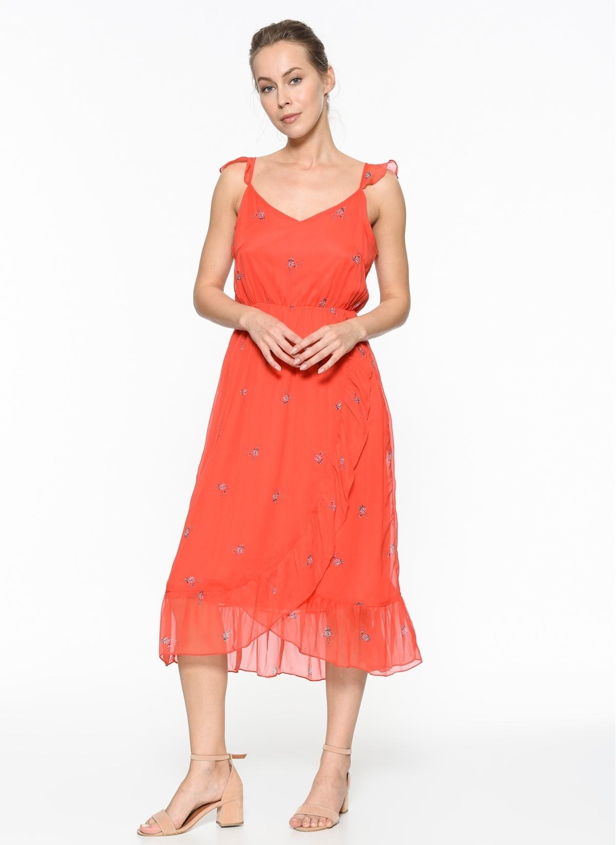 Vero Moda Askılı Midi Şifon Elbise 10198470 Vmdanni Singlet Calf Dress – 79.9 TL